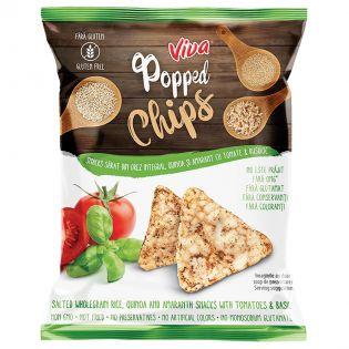 VIVA Snacks expandat din orez integral quinoa și amarant cu tomate și busuioc 50G