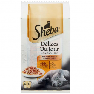 SHEBA Hrană umedă pentru pisici pui 6x50g