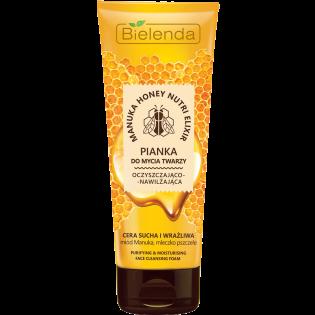 BIELENDA Spumă hidratantă cu miere de manuka pentru curățarea feței pentru ten uscat și sensibil 175g