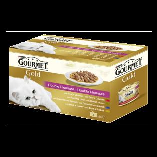 GOURMET GOLD Conservă hrană umedă pisici Duo 4X85g