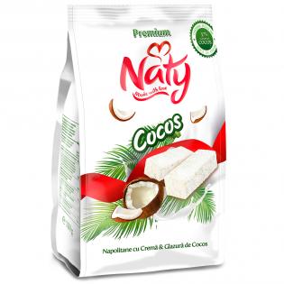 NATY PREMIUM - Napolitane cu cremă și glazură de cocos 180g