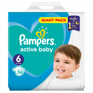 PAMPERS Scutece giant nr.6 56 buc